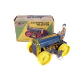 Tin Plate Toy Tractor - 'Mettoy UK' - Clockwork 'Caterpillar' Tractor with Original Box & Key -