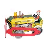 Tin Plate Toy Dozer - Unknown maker possibly Japanese - Clockwork - Circa 1950s. - wear & minor