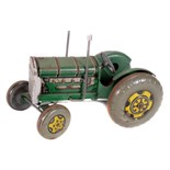 Tin Plate Toy Tractor - 'Mettoy UK' - Clockwork - Some wear no seat - L 20cm W 13cm