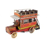 Tin Plate Toy Bus - 'Lehmann Germany' - Clockwork Auto Bus - Circa. 1910 - some wear & marks - L