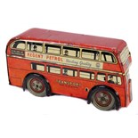 Tin Plate Toy Bus - 'Brimtoy UK' - Clockwork London Bus - Circa. 1930s - some wear & marks - L