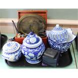 Various blue and white china, a wooden box containing a small Satsuma vase,