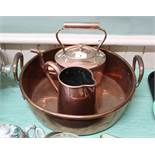 "Three 19th Century copper items viz: twin handled preserving pan 14 3/4"" dia,"