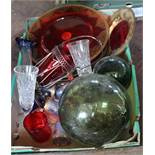 Glassware to include red and gilt plates, local siphons and bottles,