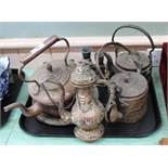 A Victorian copper kettle plus Islamic metalware etc