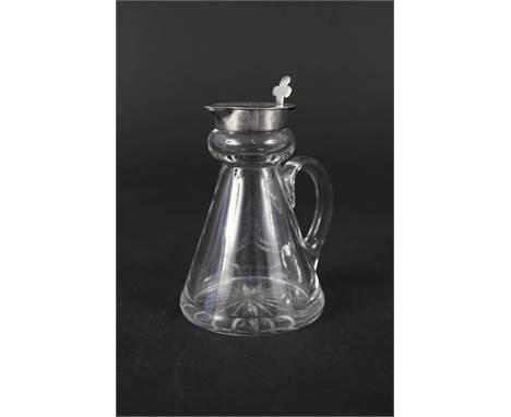 A silver topped glass whisky noggin, Birmingham 1937