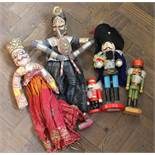 Various painted wood figural nutcrackers plus other figurines etc