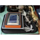 Anya Hindmarch silk square, silver plated photo frame, four silver plated cockerels,