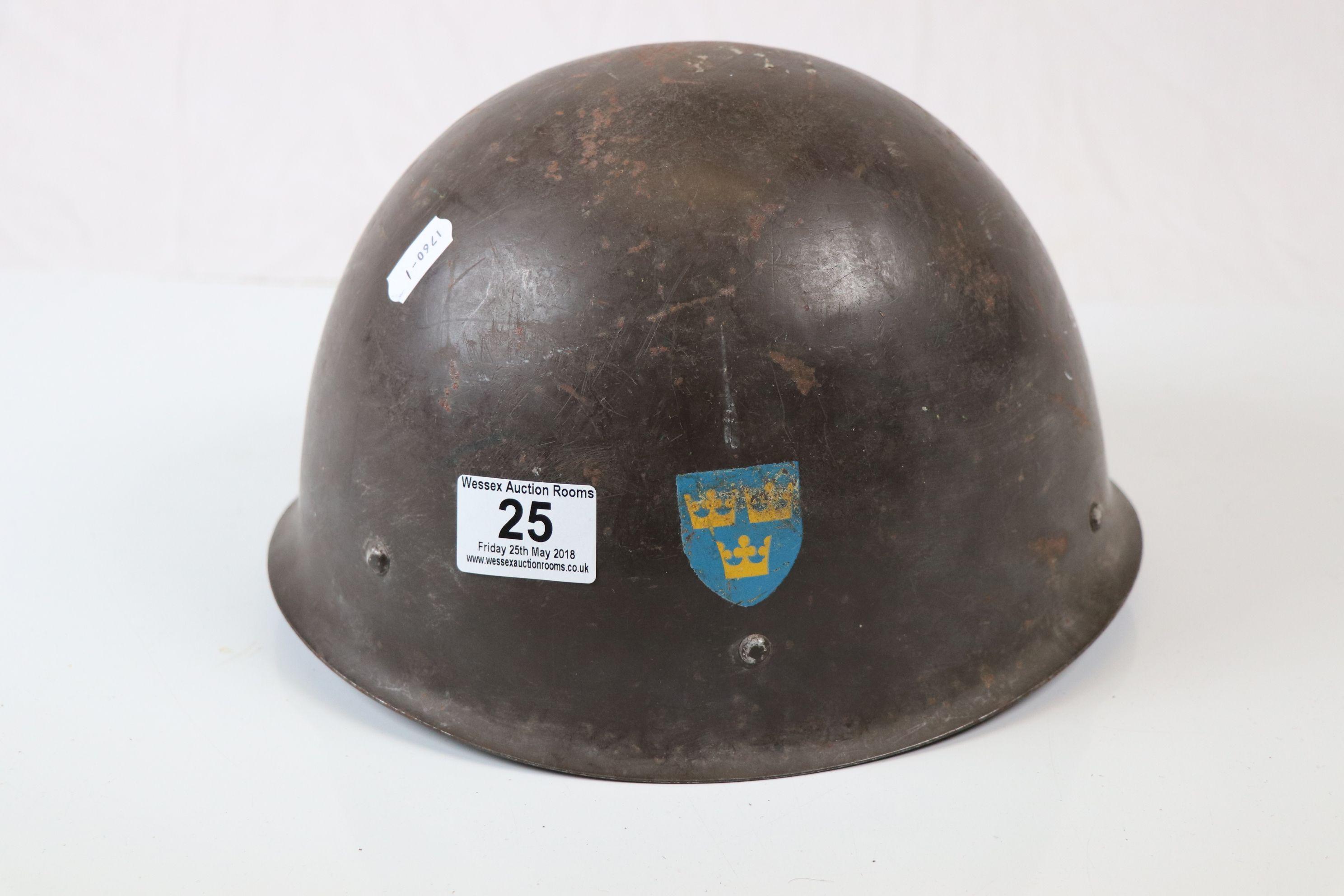 Lot 25 - Swedish Military M37 Steel Helmet With Original Leather Liner.