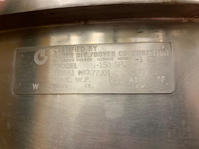"Groen N-150 SP 150 Gallon Stainless Steel Kettle - 42"" diameter x 34"" deep - Bridge for mounting - Image 4 of 4"