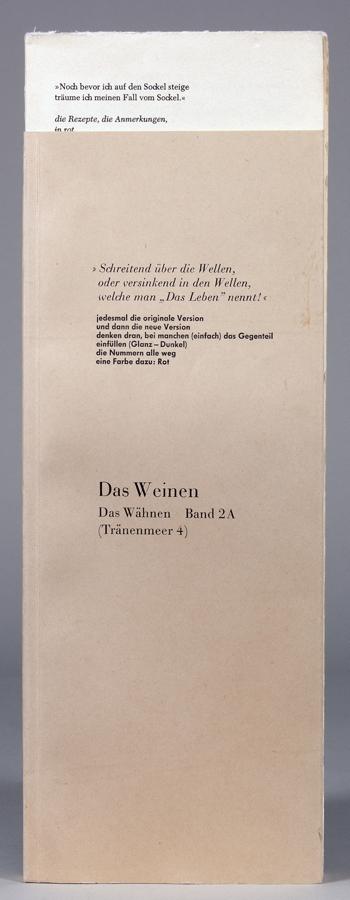 Dieter Roth. Das Weinen. Das Wähnen. Band 2A. (Tränenmeer 4). Stuttgart und London, Hansjörg