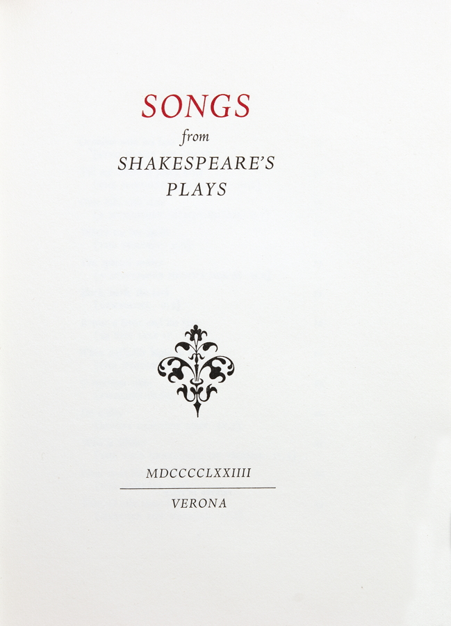 Officina Bodoni - Songs from Shakespeare's Plays. Verona 1974. Grüner Originalhalbmaroquinband mit