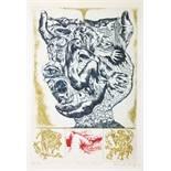 Bernhard Schultze. Finger im Mund. Farbige Radierung. 1970. 42,0 : 28,5 cm (59,2 : 47,0 cm).