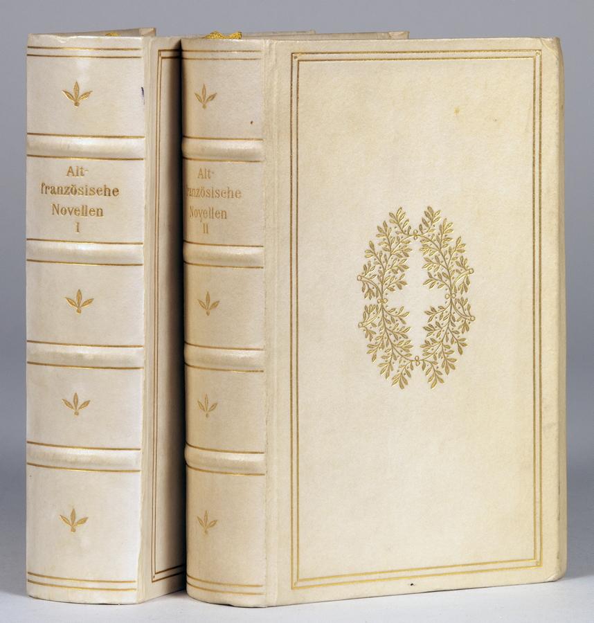 """""""Insel Verlag - Altfranzösische Novellen. Erster [und] Zweiter Band. Leipzig, Insel 1909. Zwei"""