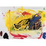 Markus Lüpertz. Ohne Titel. Farbige Offsetlithographie nach Tempera. 1985. 50,0 : 70,0 cm.
