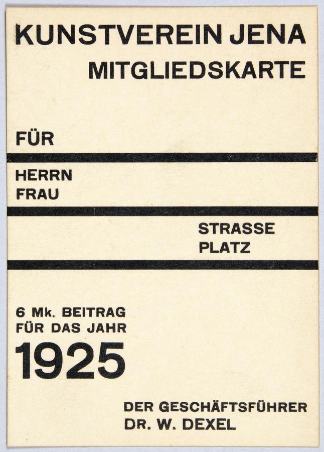 Lot 974 - Walter Dexel. Kunstverein Jena. Mitgliedskarte. Letterprint. 1925. 10,4 : 7,3 cm. Auf gelblichem