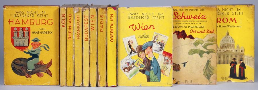 Auktionslos 868 - Walter Trier - Was nicht im Baedeker steht. Zehn Bände der Reihe. München, R. Piper 1931. Mit