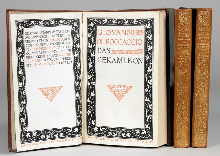 Insel Verlag - Giovanni di Boccaccio. Das Dekameron. Erster [bis] Dritter Band. Leipzig, Insel 1904.