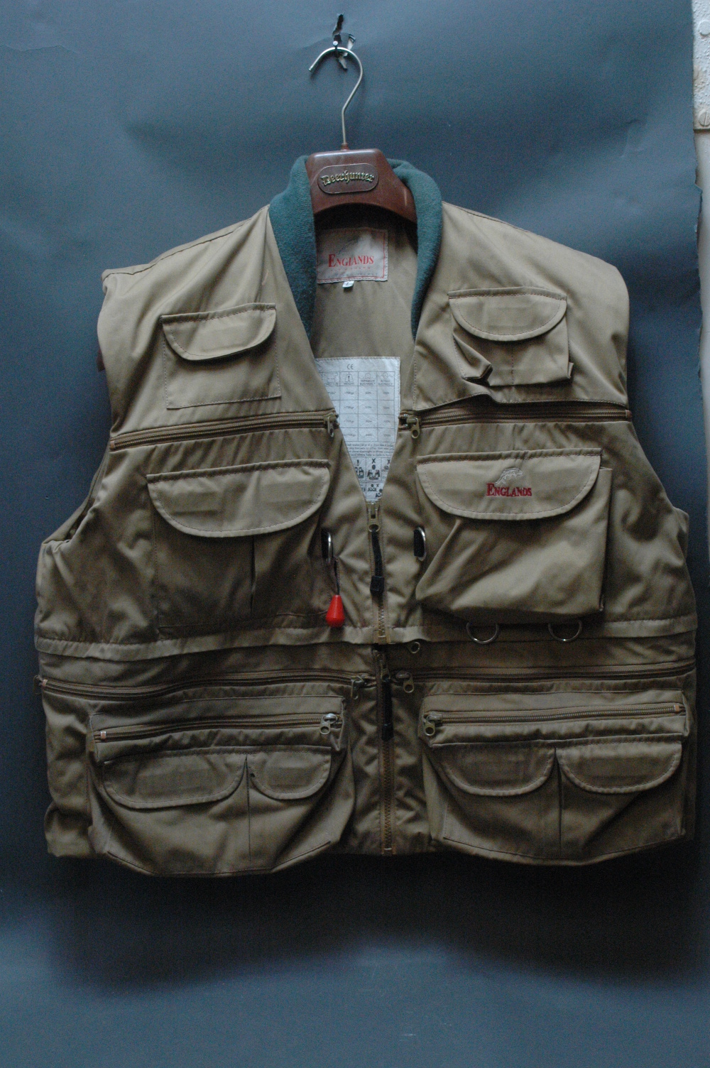 England 39 s fly fishing waistcoat combined life jacket and a for Fishing life jacket