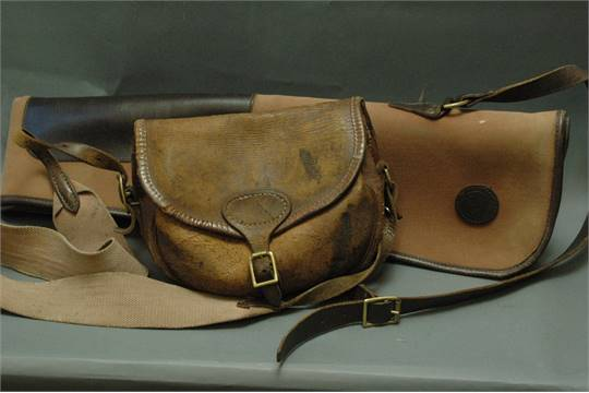 David Nickerson canvas and leather shotgun slip and vintage leather cartridge  bag.