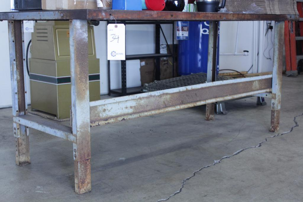 "Lot 34 - Steel work bench, Size: 72""W X 34""D X 34""H"