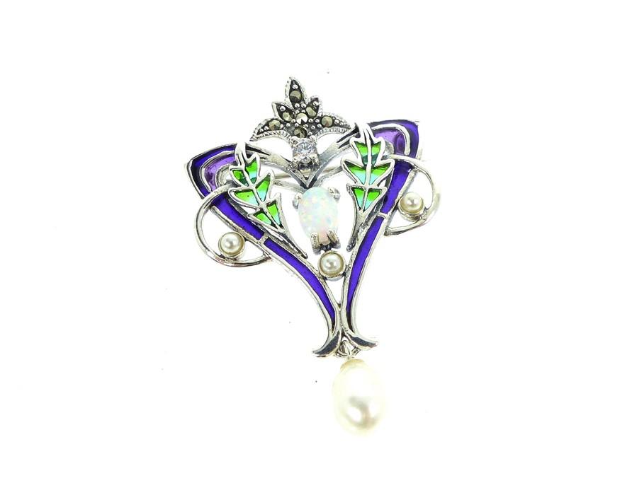 Lot 16 - A Silver Art Nouveau Style Plique A Jour Brooch Inset With Opal Panel.