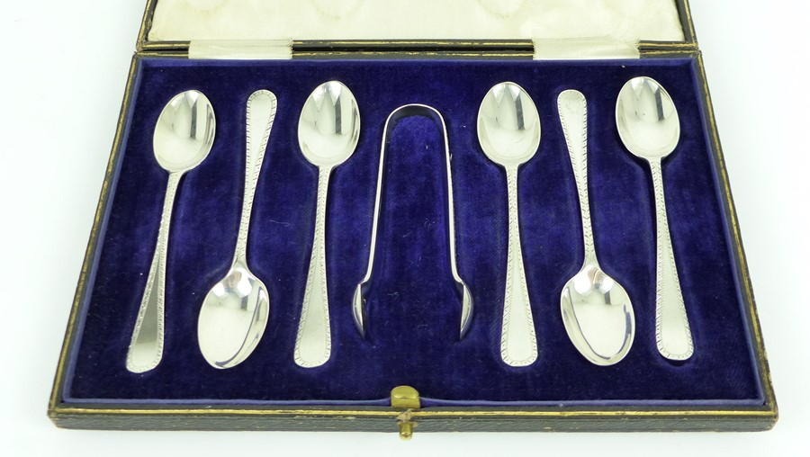 Lot 46 - An Antique Cased Set Silver Victorian Tea Spoons And Sugar Nips.