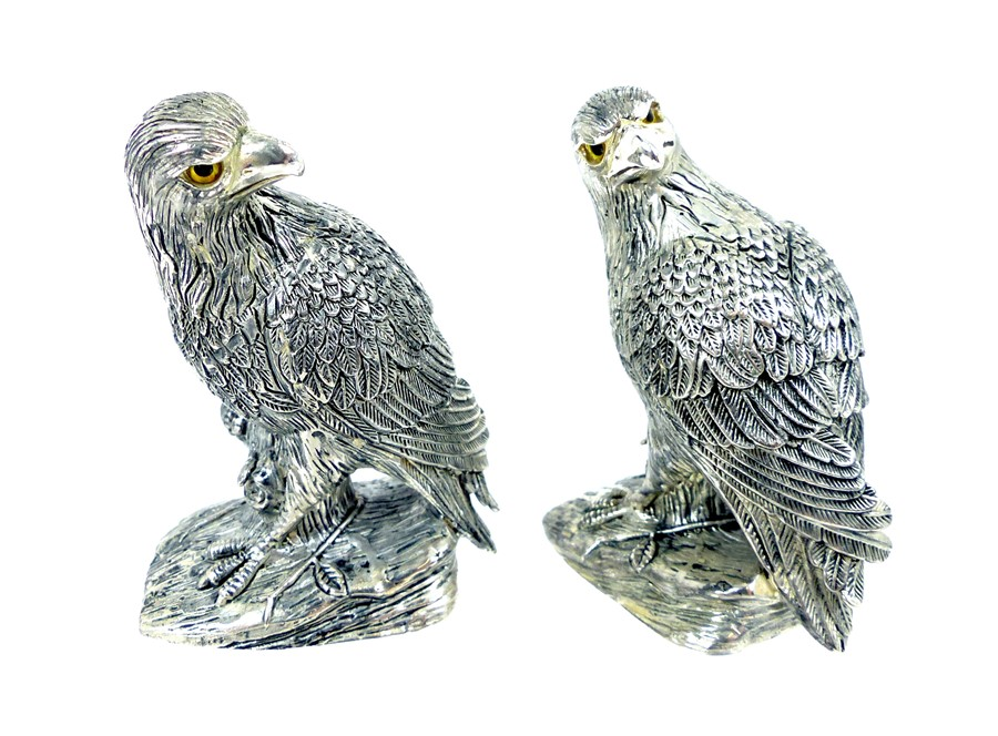 Lot 9 - A Pair Of Unusual Condiments In The Form Of Birds Of Prey.