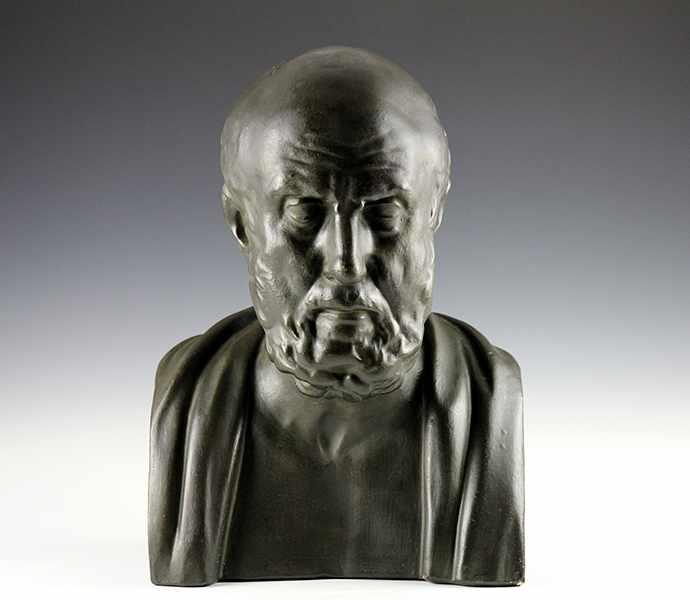 """Lot 48 - Medizin - - Büste des Hippokrates von Kos. Frankreich um 1880, bezeichnet """"Hippocrate"""", Gips mit"""