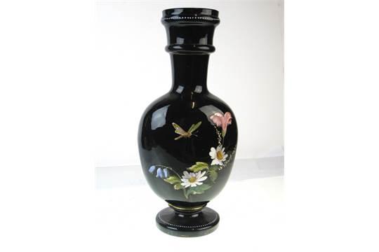 Old Vintage Antique Black Amethyst Glass Victorian Enamelled