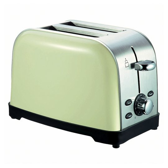 2 Slice Toaster Cream Chrome: V Brand New Retro Style Chrome & Cream Two Slice Toaster