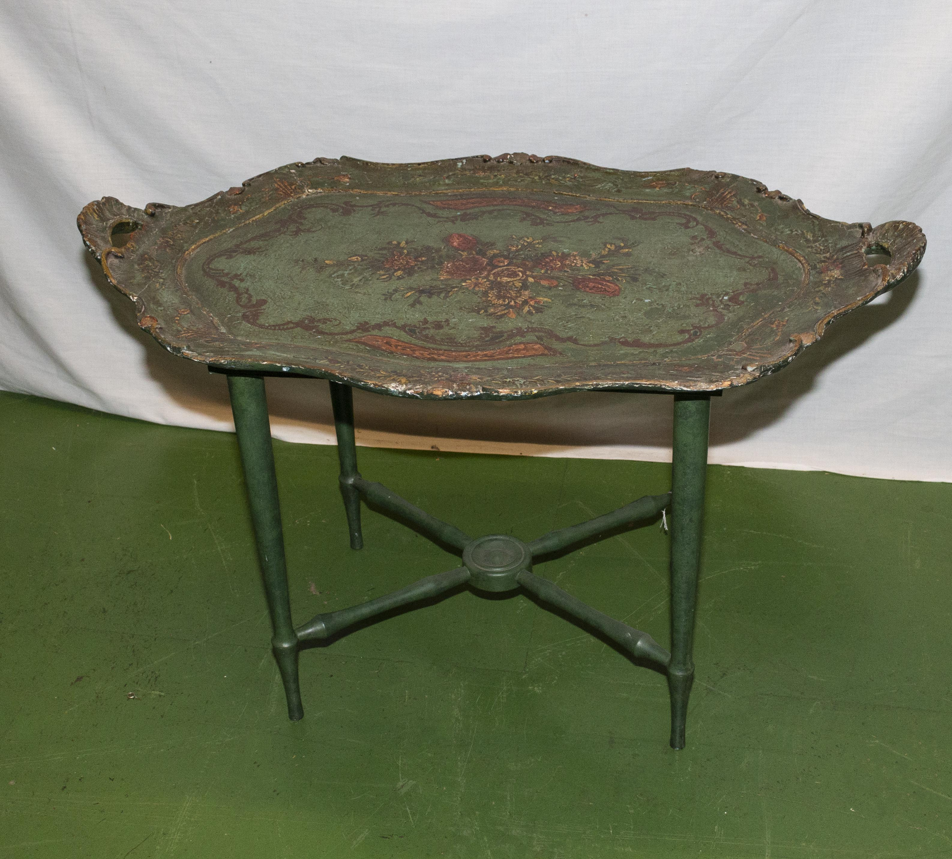 Lot 3 - A papier mache tray on a stand.