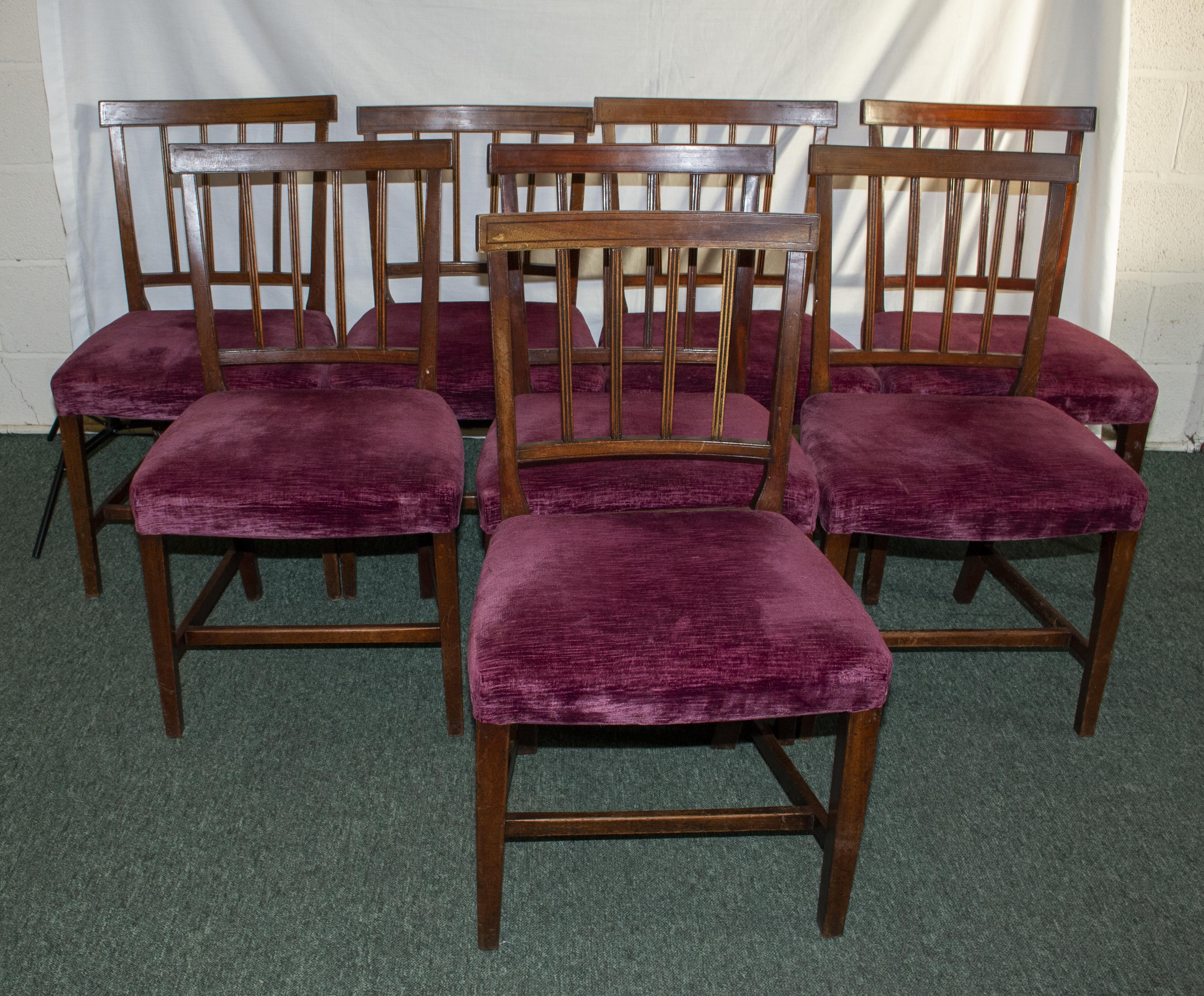 Lot 40A - Eight Georgian mahogany chairs with inlaid top rail