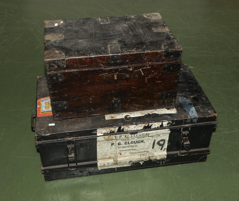 Lot 36 - A deed box and a brass bound box