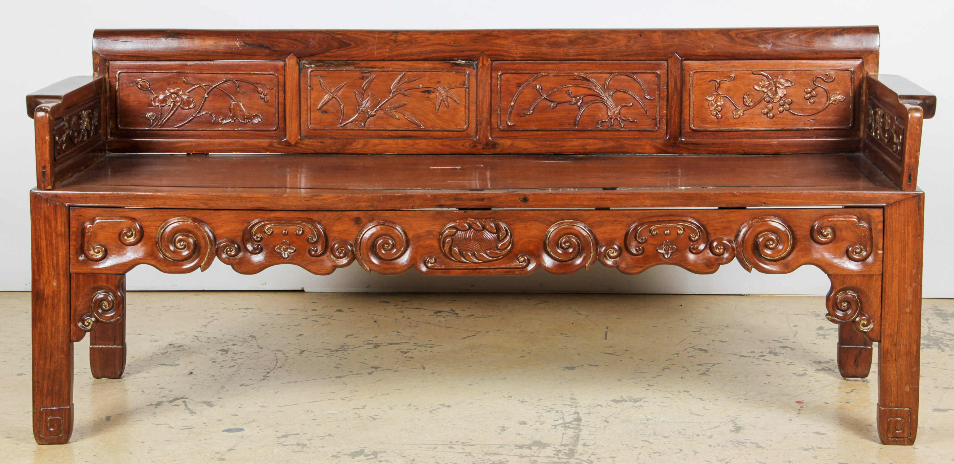 Antique Chinese Bench, possibly Huanghuali wood. New ...