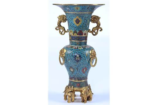 Outstanding Antique Chinese Cloisonne Vase Twin Gilded Lion Handles