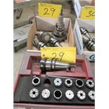 LOT ASST. CAT TOOLING (5 PIECES) AND COLLETS