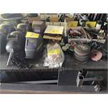 LOT WELDING MASKS, GLOVES, CLAMPS, DISCS, BRUSHES, ETC.