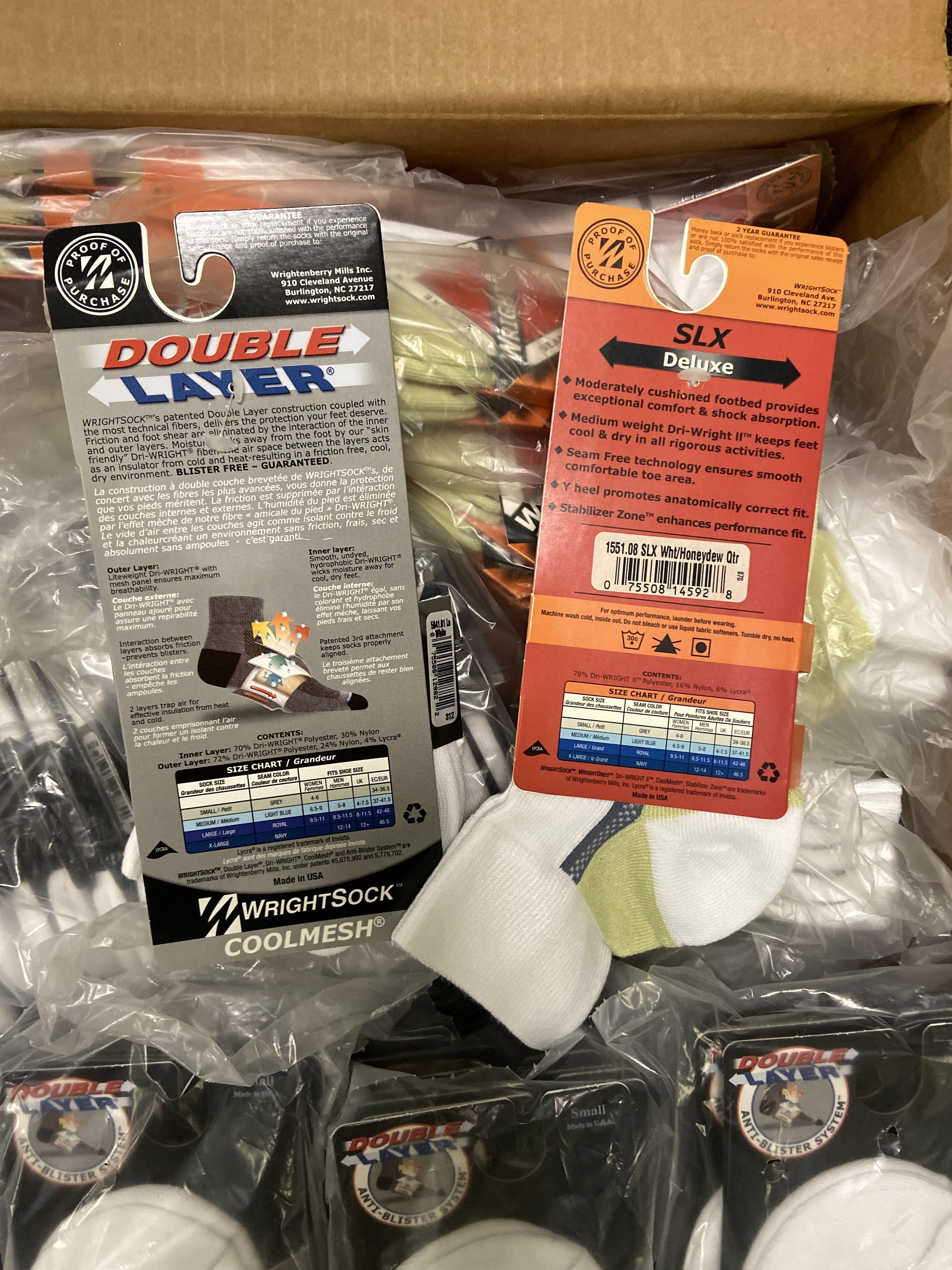 Lot 27 - 500+ packs of New Socks, Wrightsocks Coolmesh and WrightOnes SLX, Various White Styles Lot
