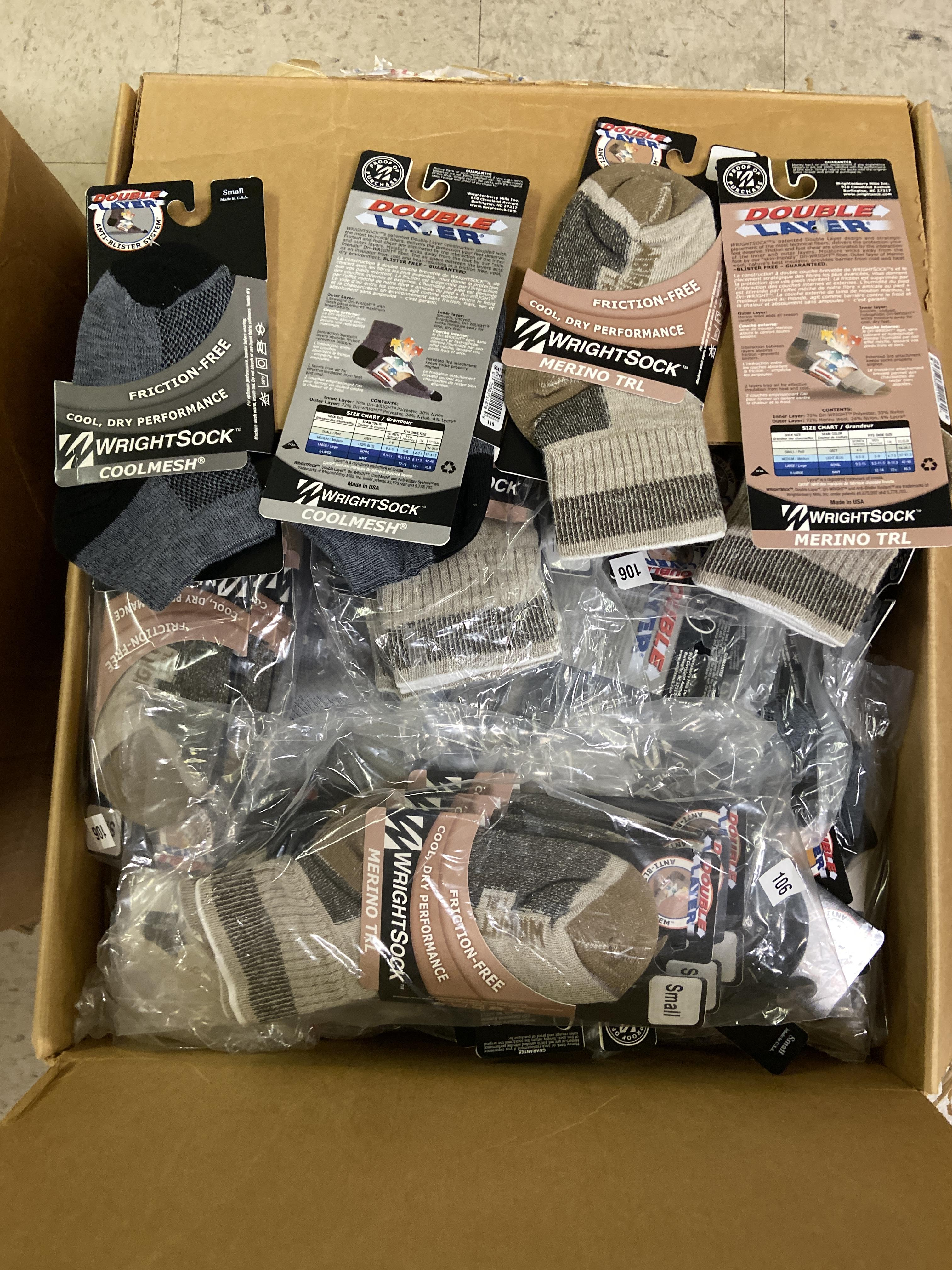 Lot 43 - 500+ packs of New Socks, Wrightsocks Various Styles, Various Colors Lot includes approximately 500