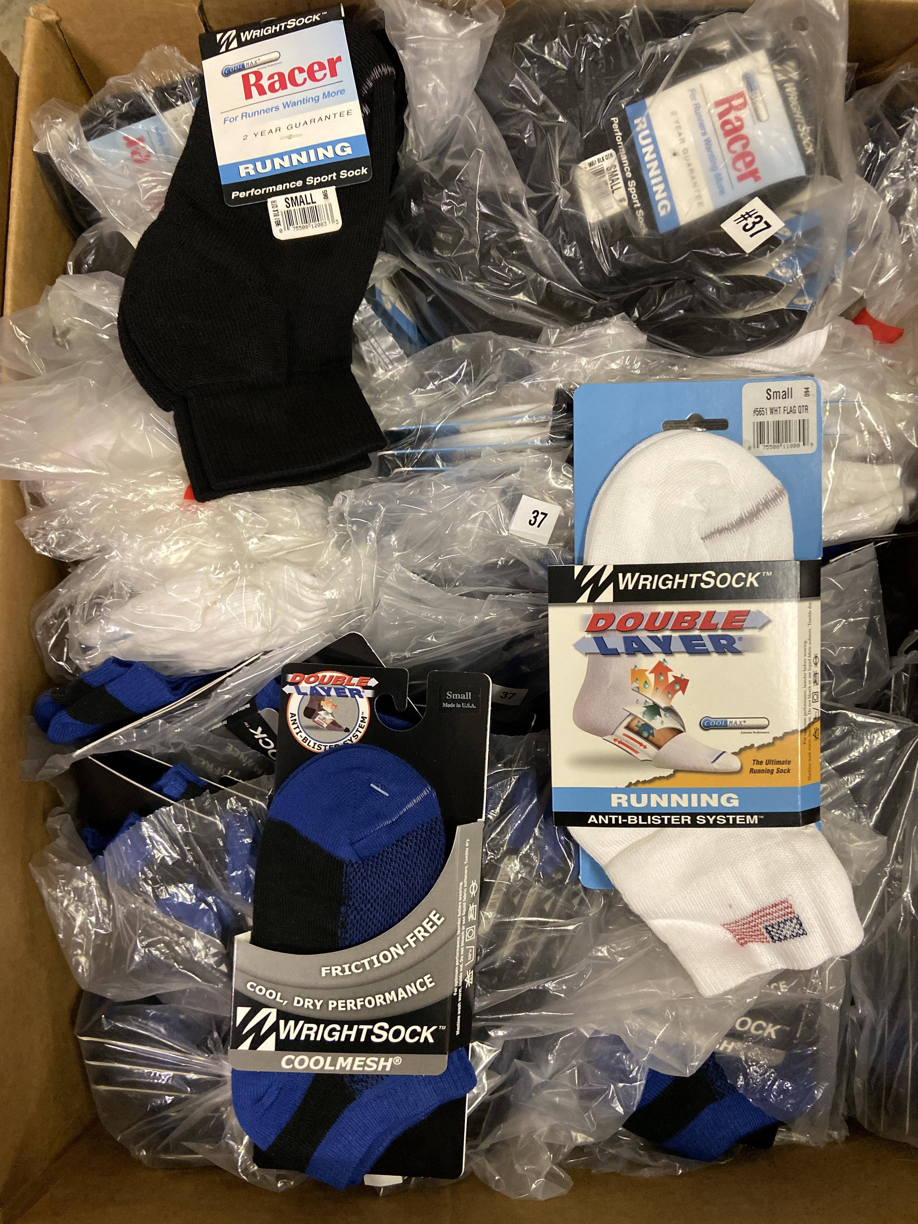 Lot 18 - 250+ packs of New Socks, Wrightsock Running and Coolmesh, Double Layer, Various Colors, USA Flag,
