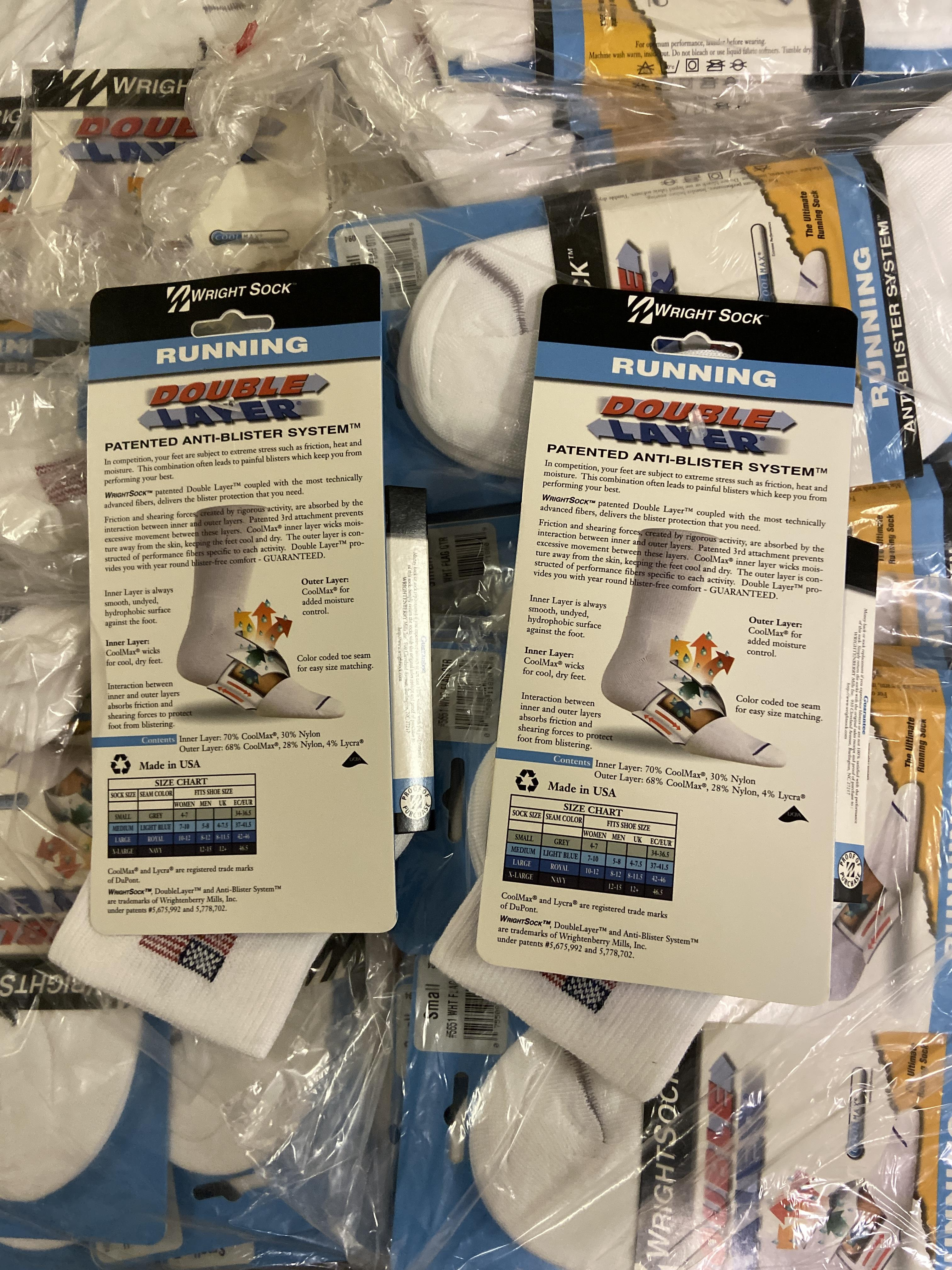 Lot 13 - 250+ packs of New Socks, American Flag USA Wrightsock Running , Double Layer Lot is approximately