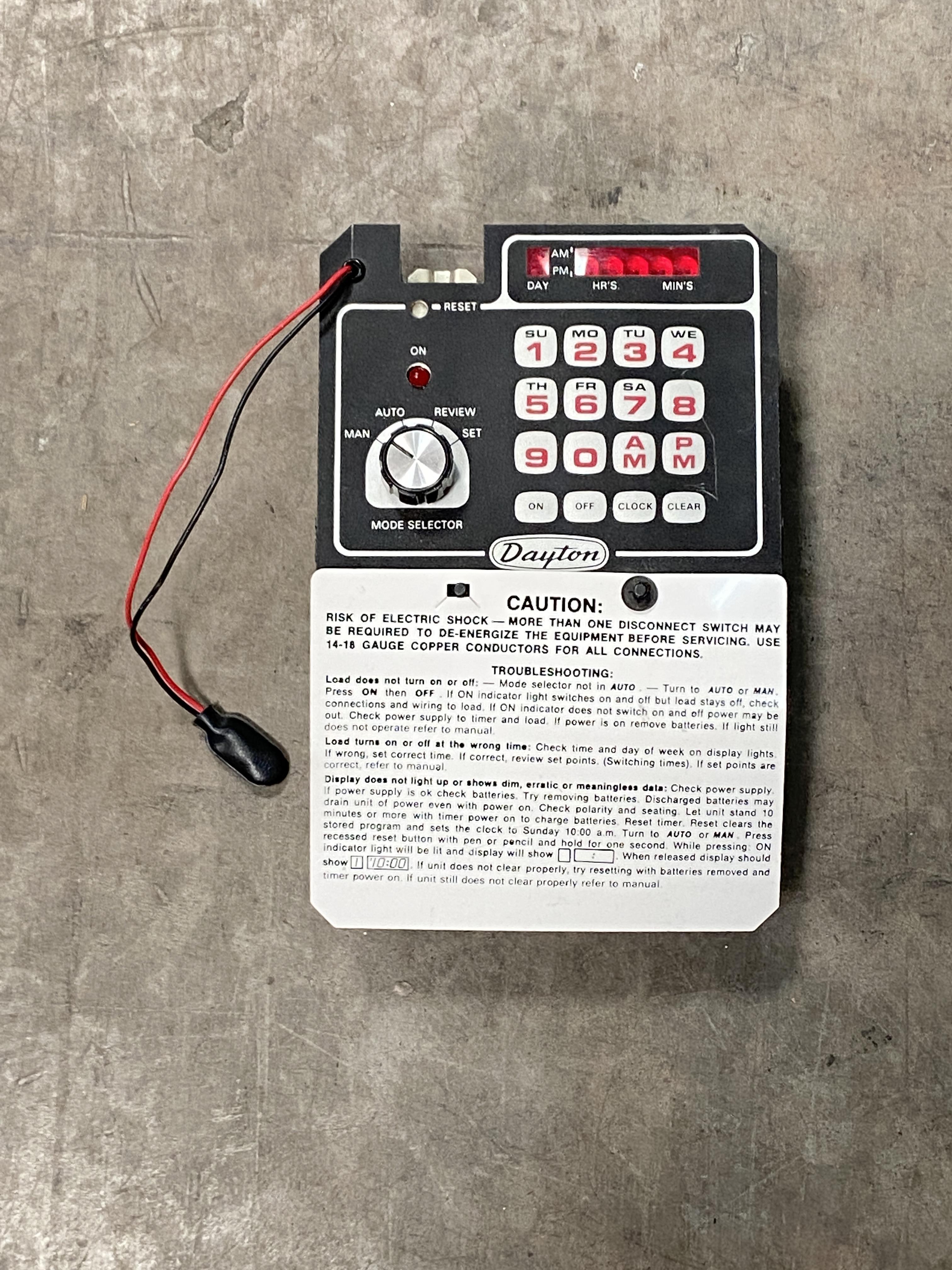 Lot 1R - Dayton Control Panel