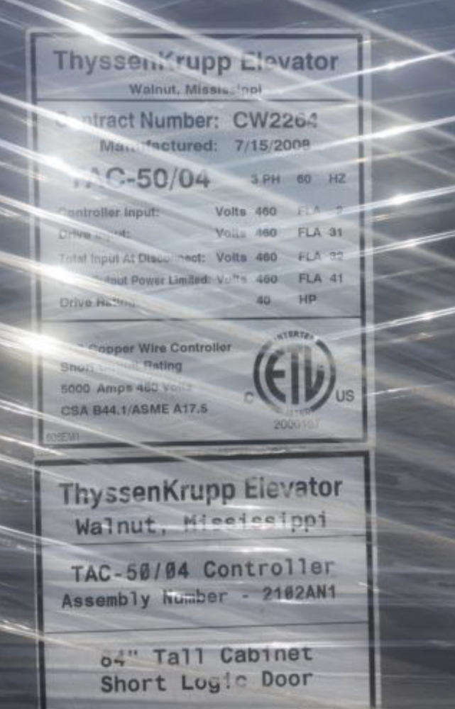 "Lot 1H - ThyssenKrupp Elevator TAC 50-04 Brand New Controller/Selector Module $55,000 84""   This item is"