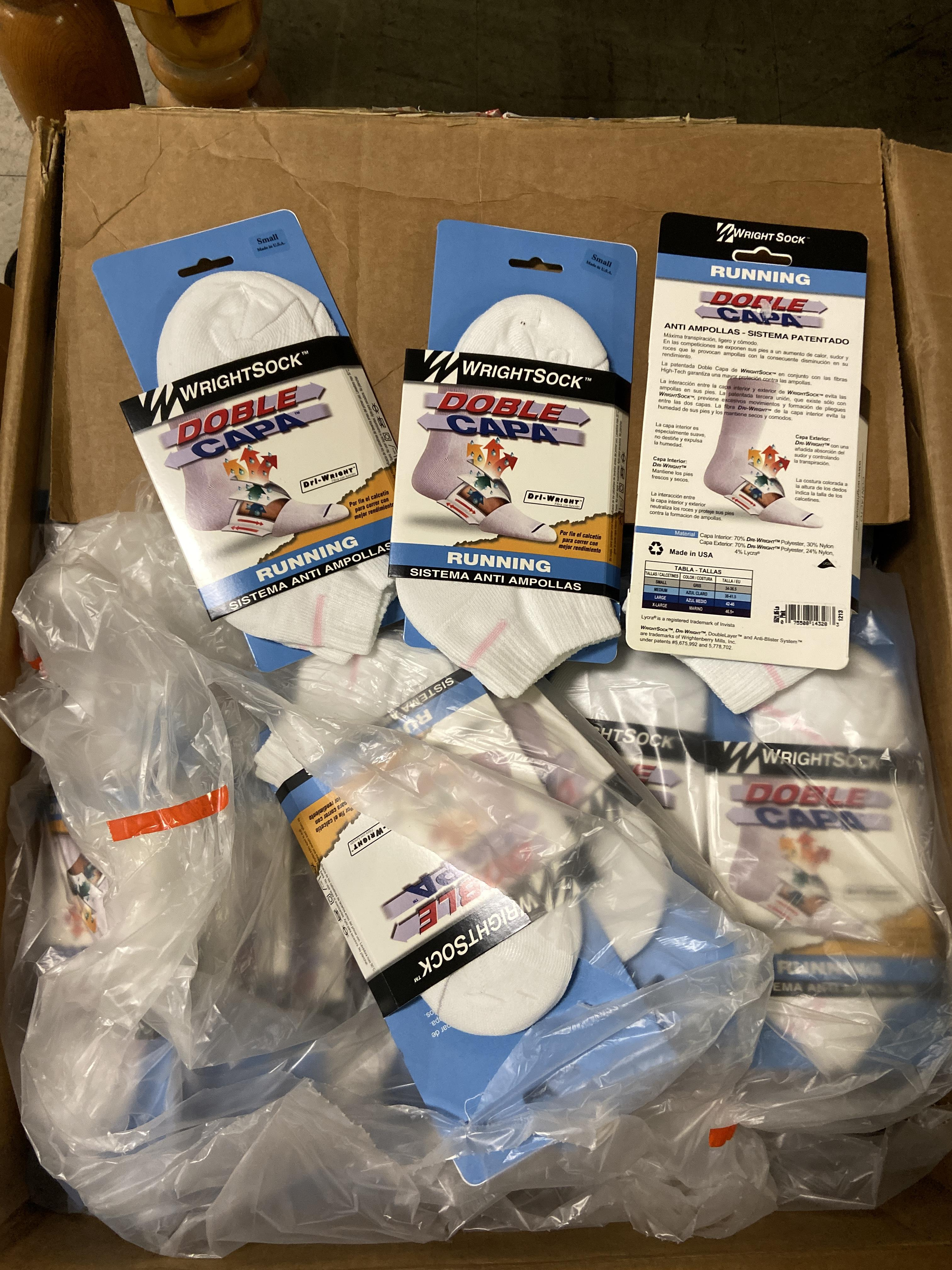 Lot 38 - 500+ packs of New Socks, Wrightsocks Various Styles, Various Designs Lot includes approximately