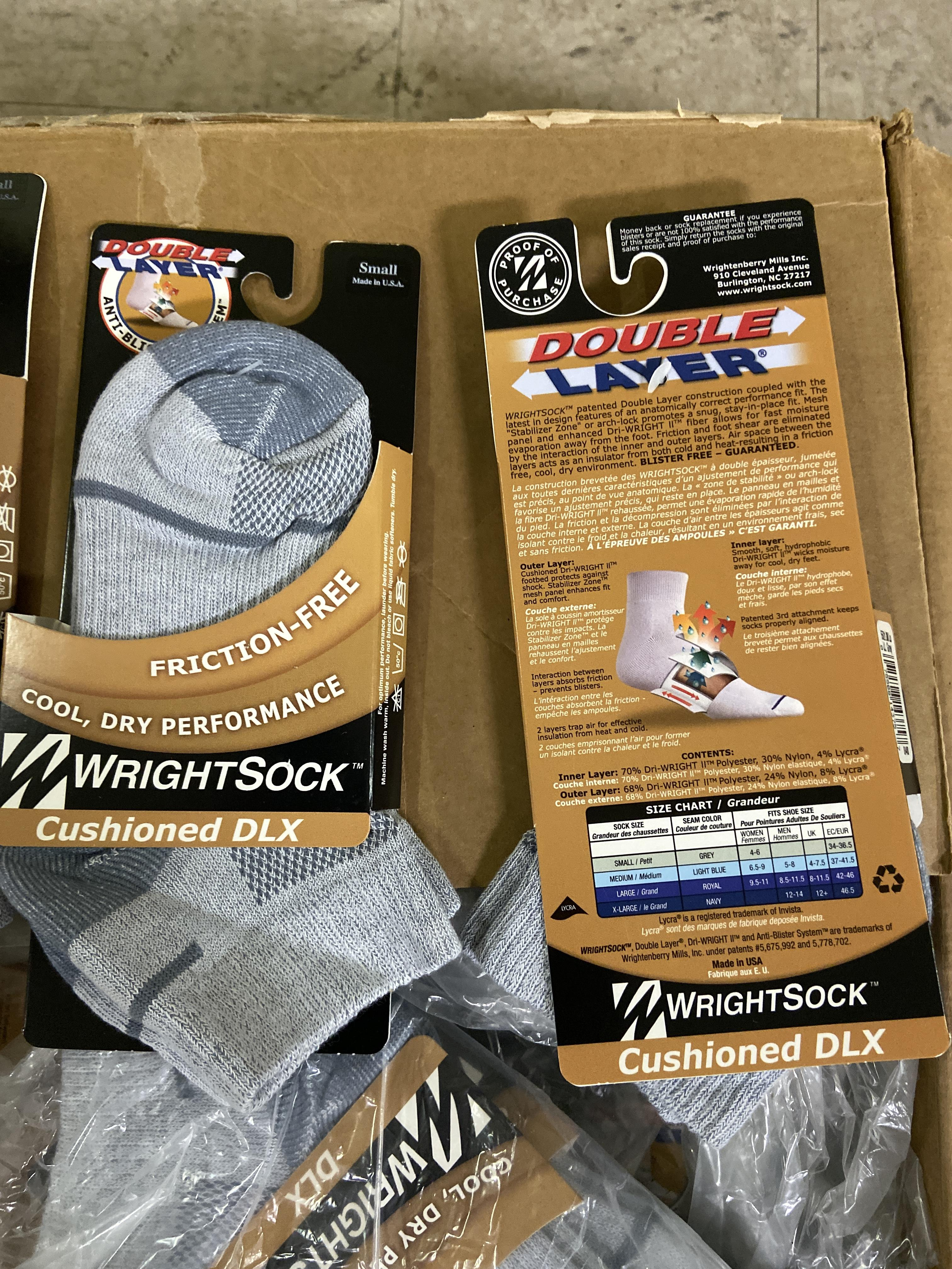 Lot 29 - 250+ packs of New Socks, Wrightsocks Cushioned DLX, Double Layer, Gray Lot includes approximately