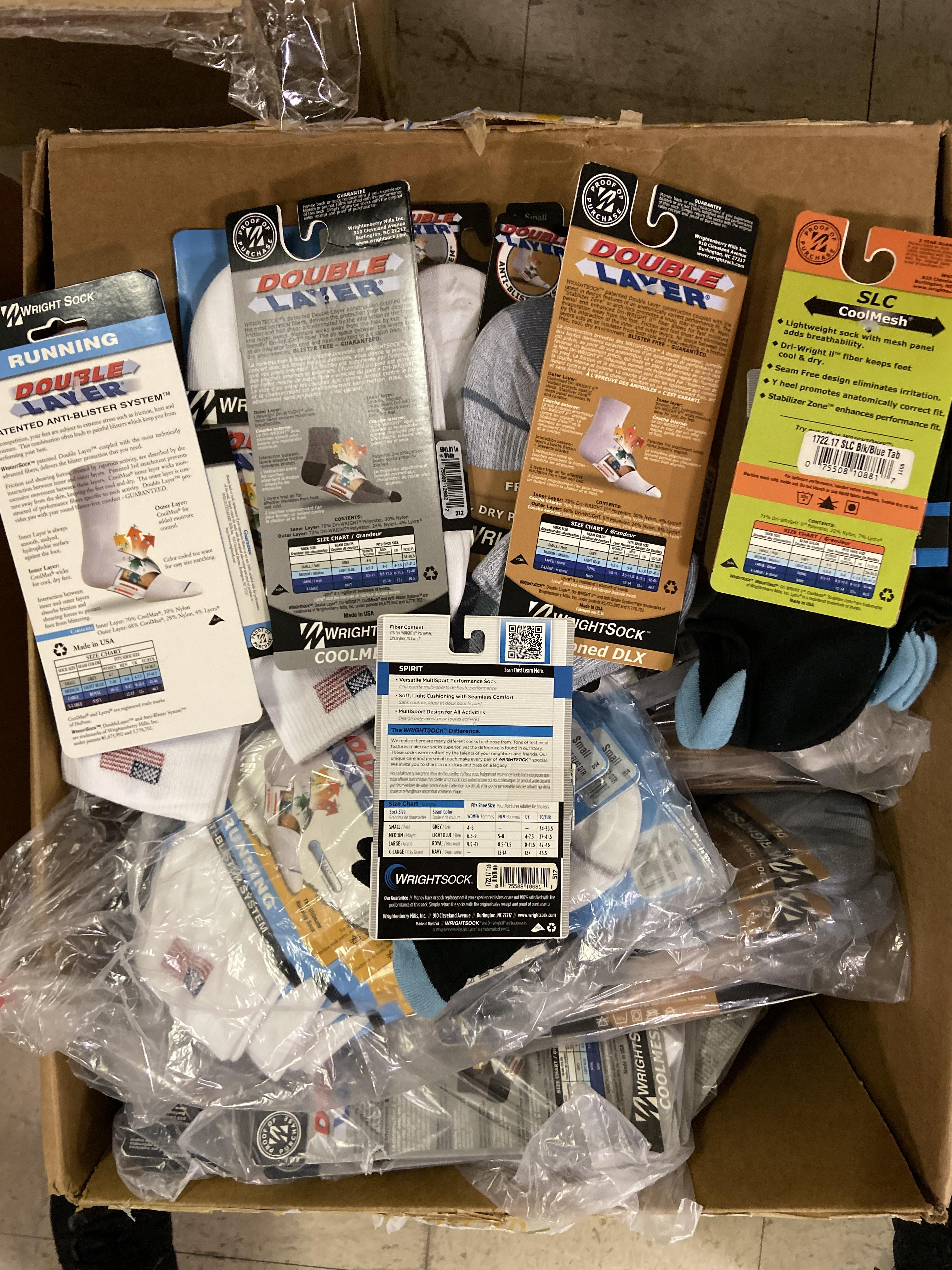 Lot 31 - 250+ packs of New Socks, Wrightsocks Various Styles, Various Colors Lot includes approximately 250