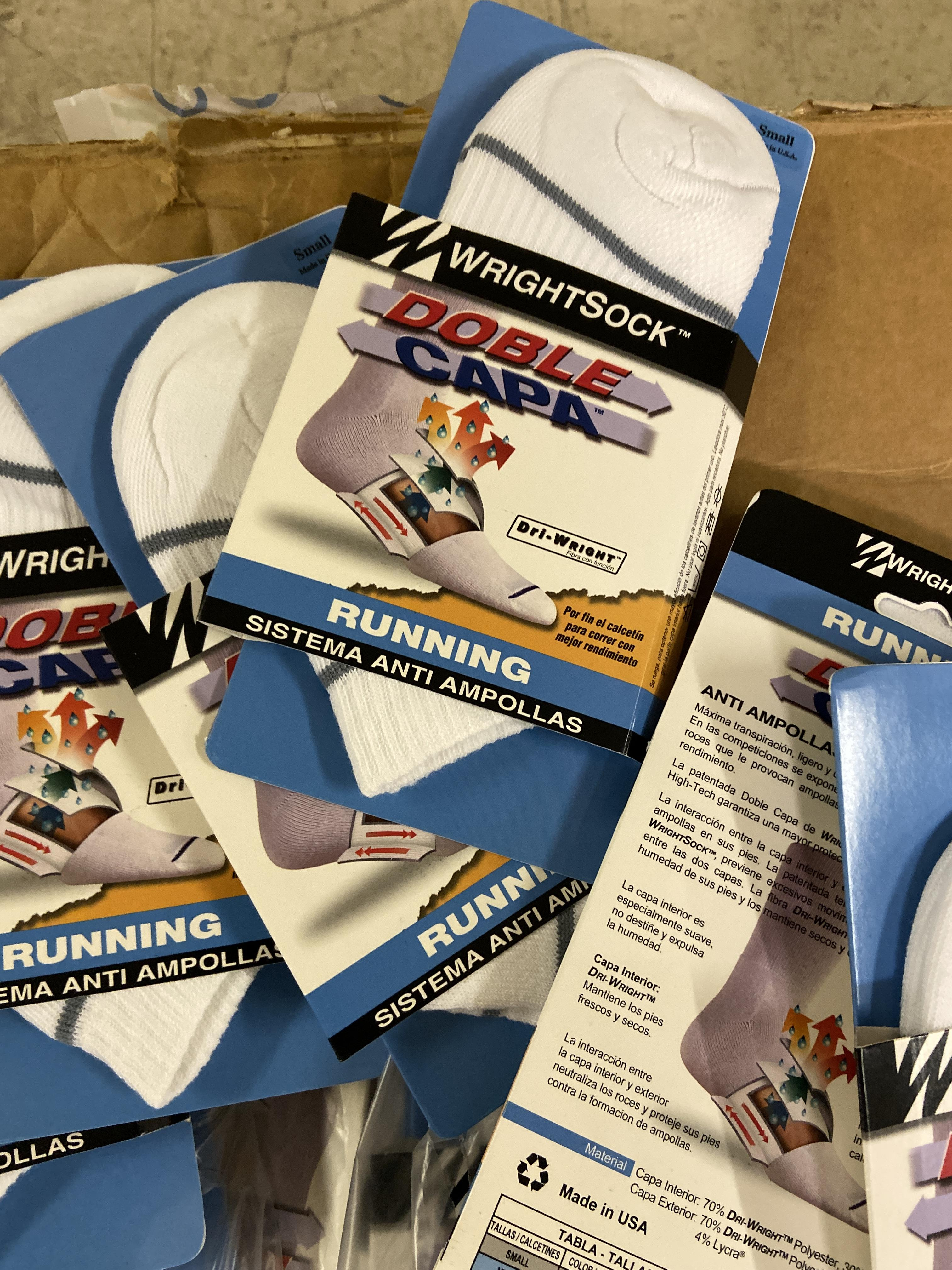 Lot 9 - 250+ packs of New Socks, Wrightsock Running, Double Layer, White with Gray Stripe Lot has approx 250