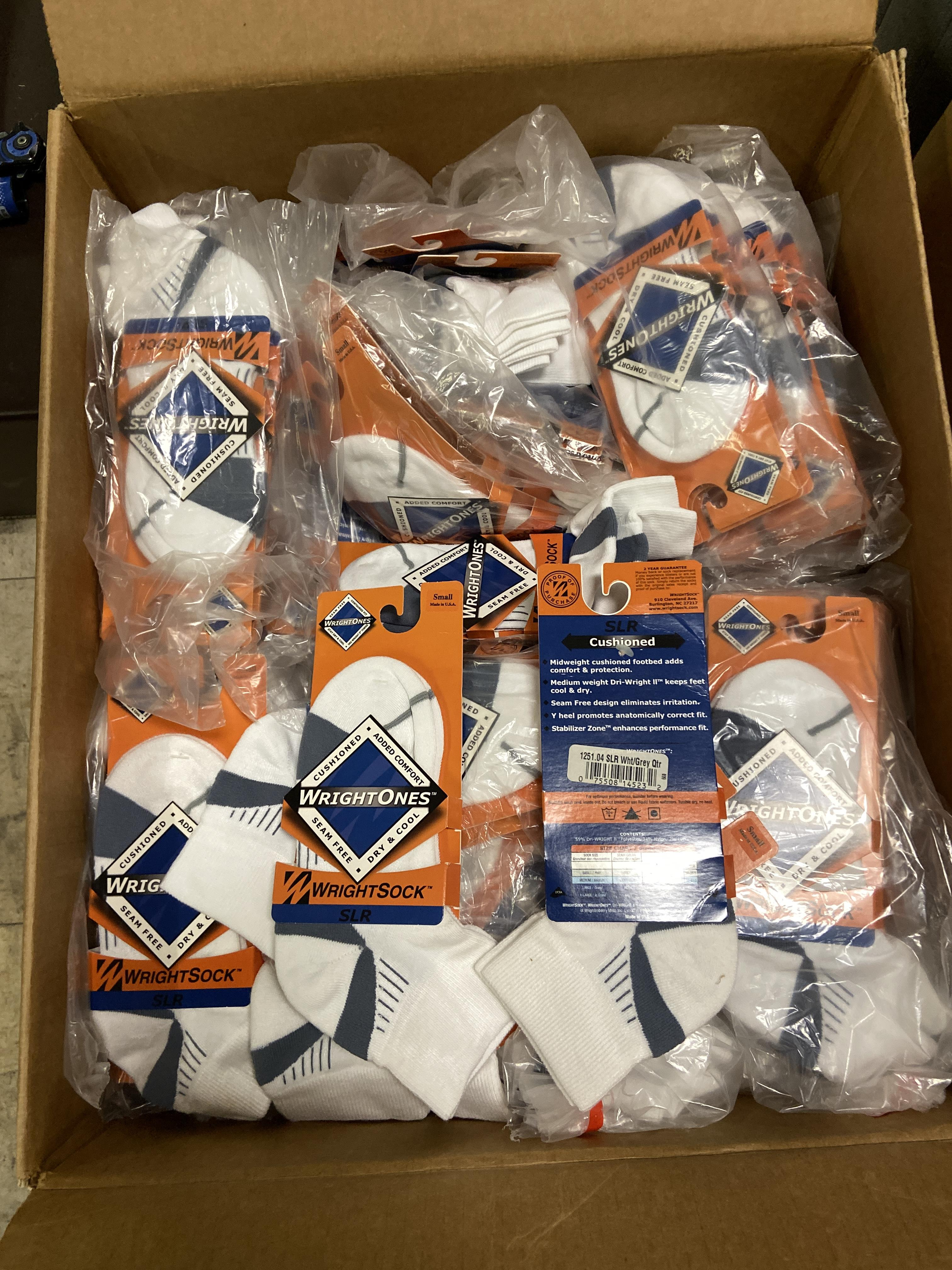 Lot 25 - 250+ packs of New Socks, Wrightsocks Wrightones SLR, White/Gray Lot includes approximately 250 packs