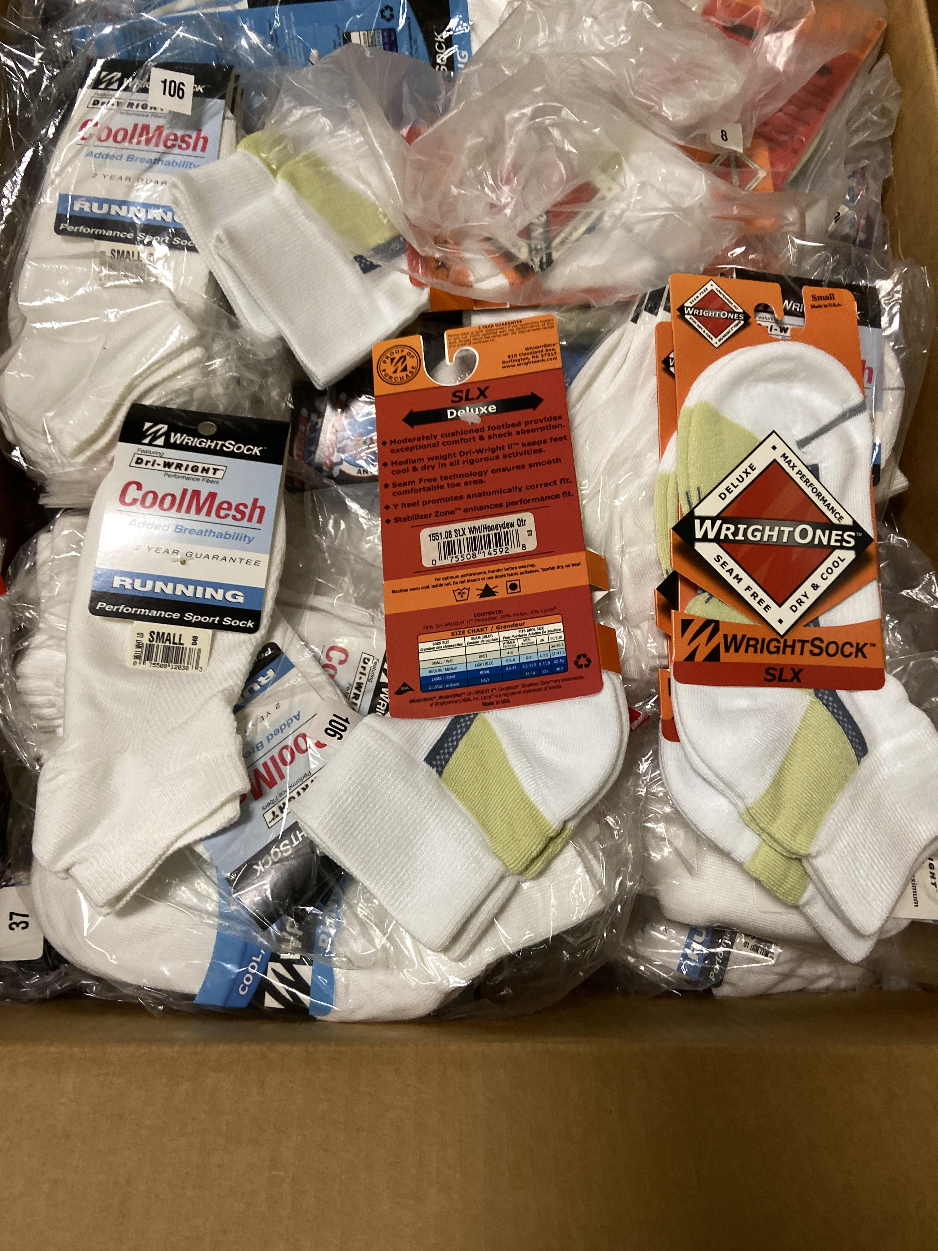 Lot 28 - 500+ packs of New Socks, Wrightsocks Various Styles, Various Colors and Styles Lot includes